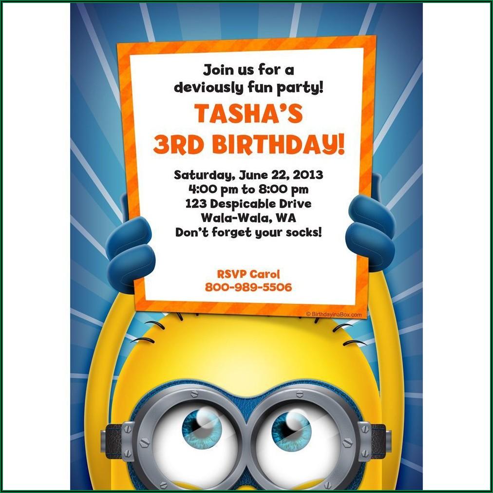 Blank Minion Birthday Invitations