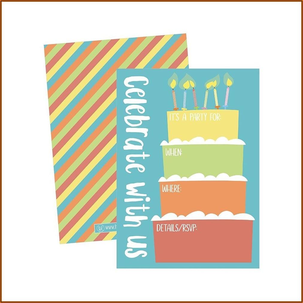 Blank Rainbow Birthday Invitations