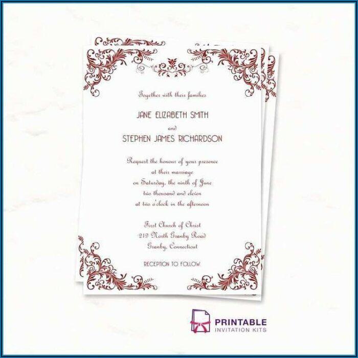 Blank Wedding Invitation Card Design Template Free Download
