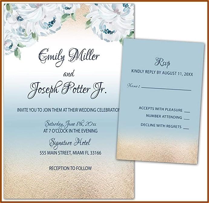 Blue Pink Gold Wedding Invitations