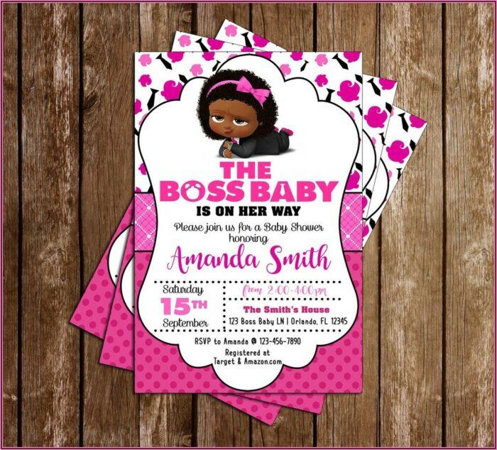Boss Baby Girl Credit Card Invitations