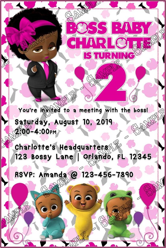 Boss Baby Girl Invitations Free