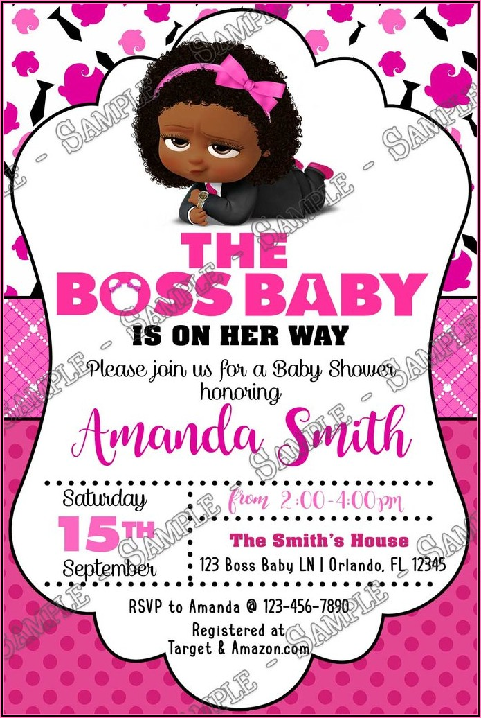 Boss Baby Girl Party Invitations