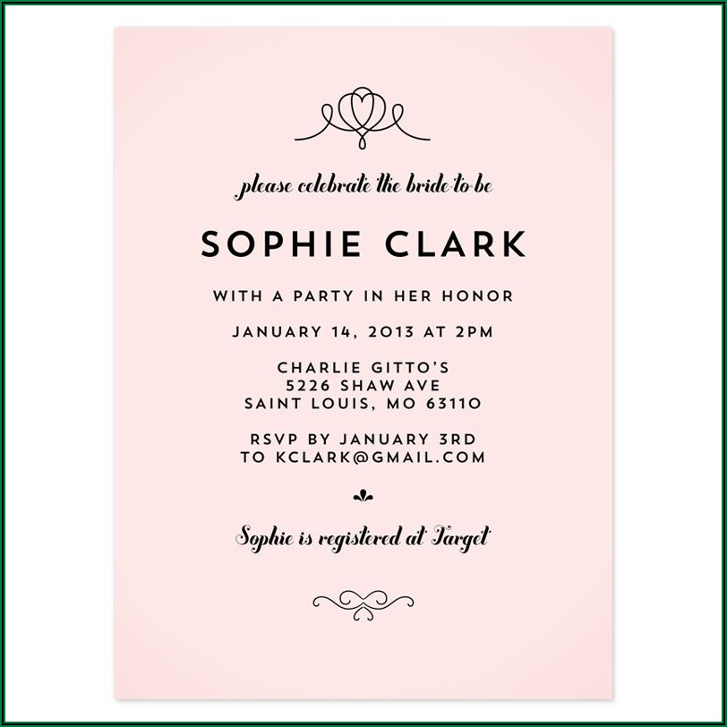Bridal Shower Invitation Wording For Second Marriage