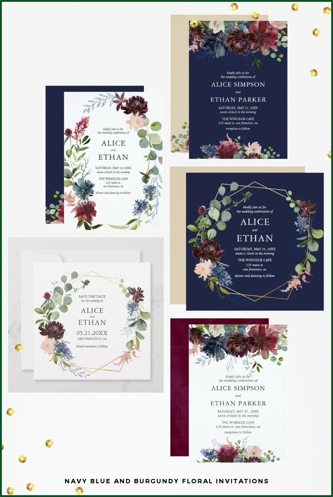 Burgundy And Navy Blue Wedding Invitations