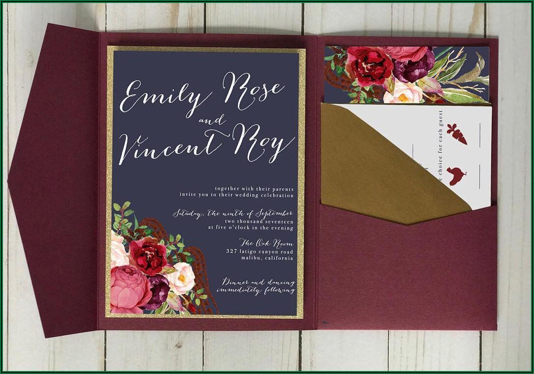 Burgundy Navy And Gold Wedding Invitations