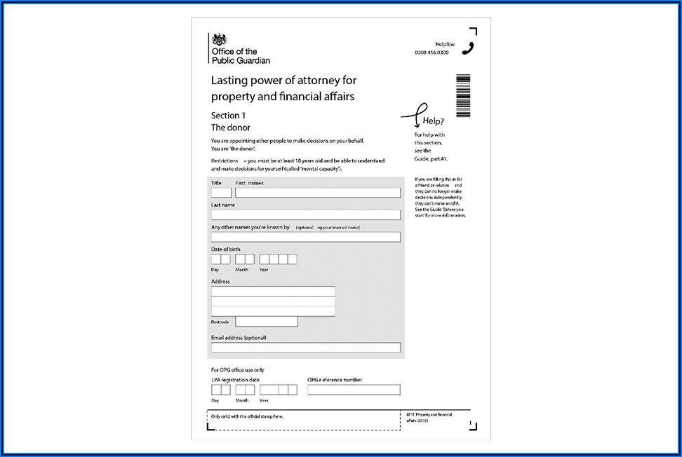 Business Lasting Power Of Attorney Form