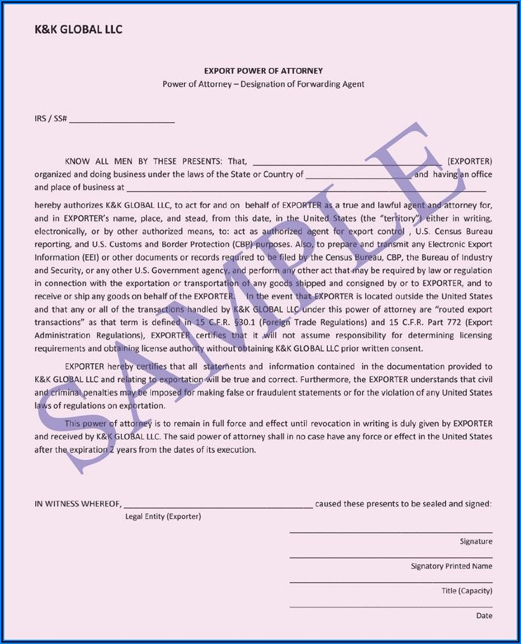 Business Power Of Attorney Sample