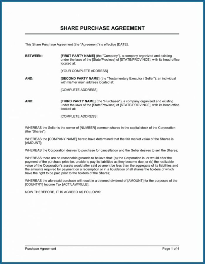 Business Sale Agreement Template Word
