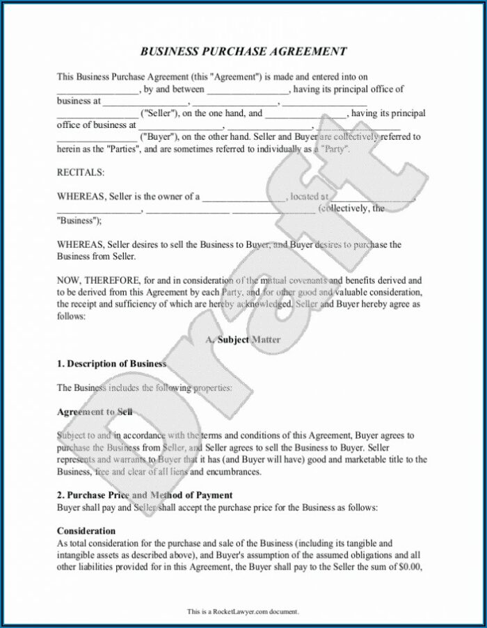 Business Sale Agreement Word Format