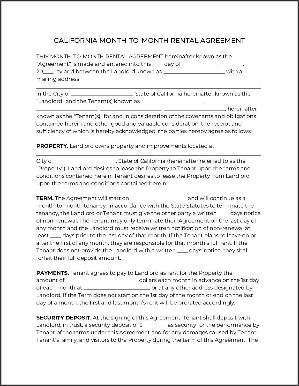 California Residential Lease Agreement 2021