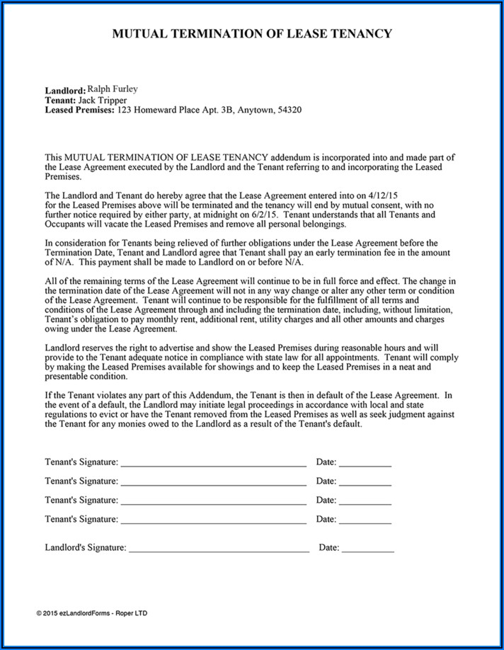 California Residential Lease Agreement Early Termination