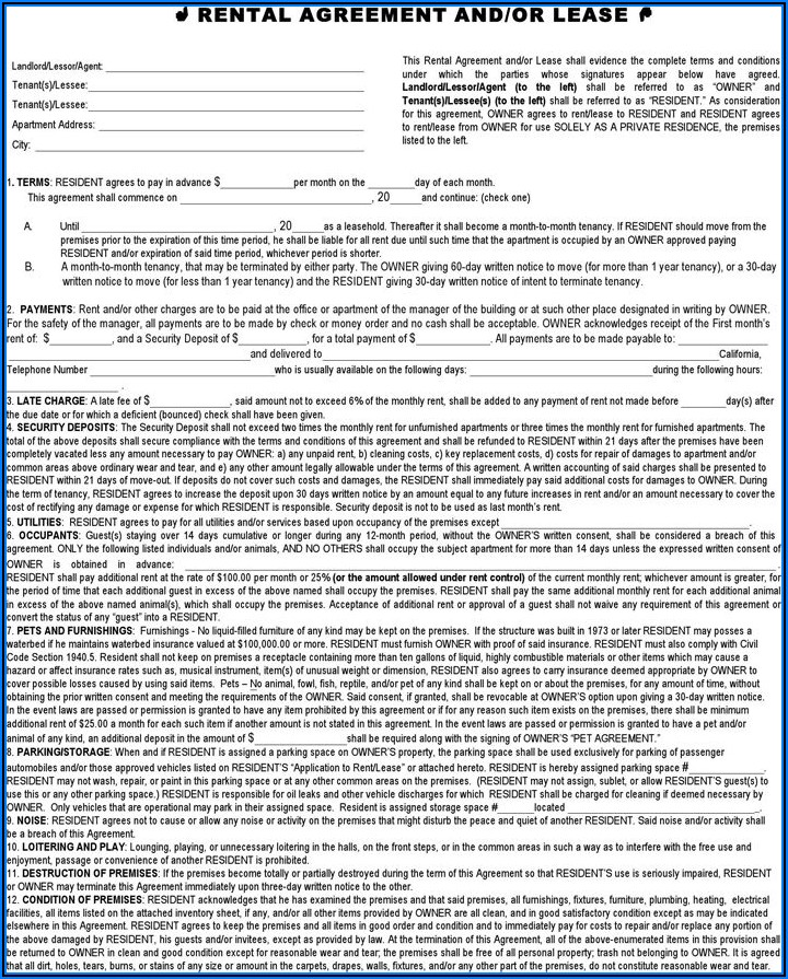 California Residential Lease Form