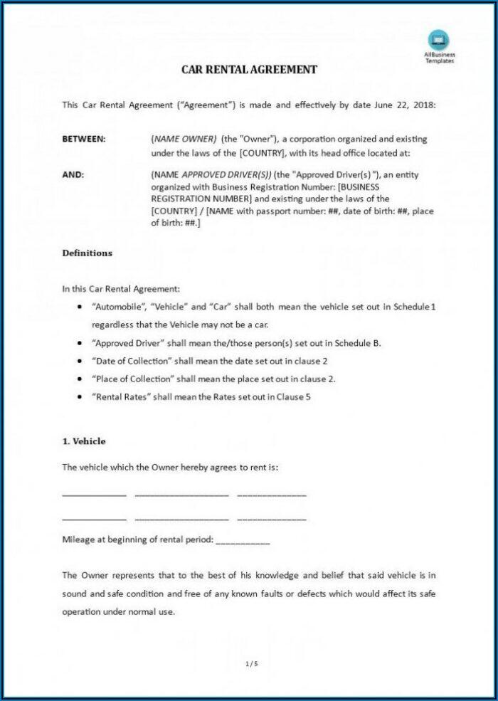 Car Rental Agreement Sample Free Word