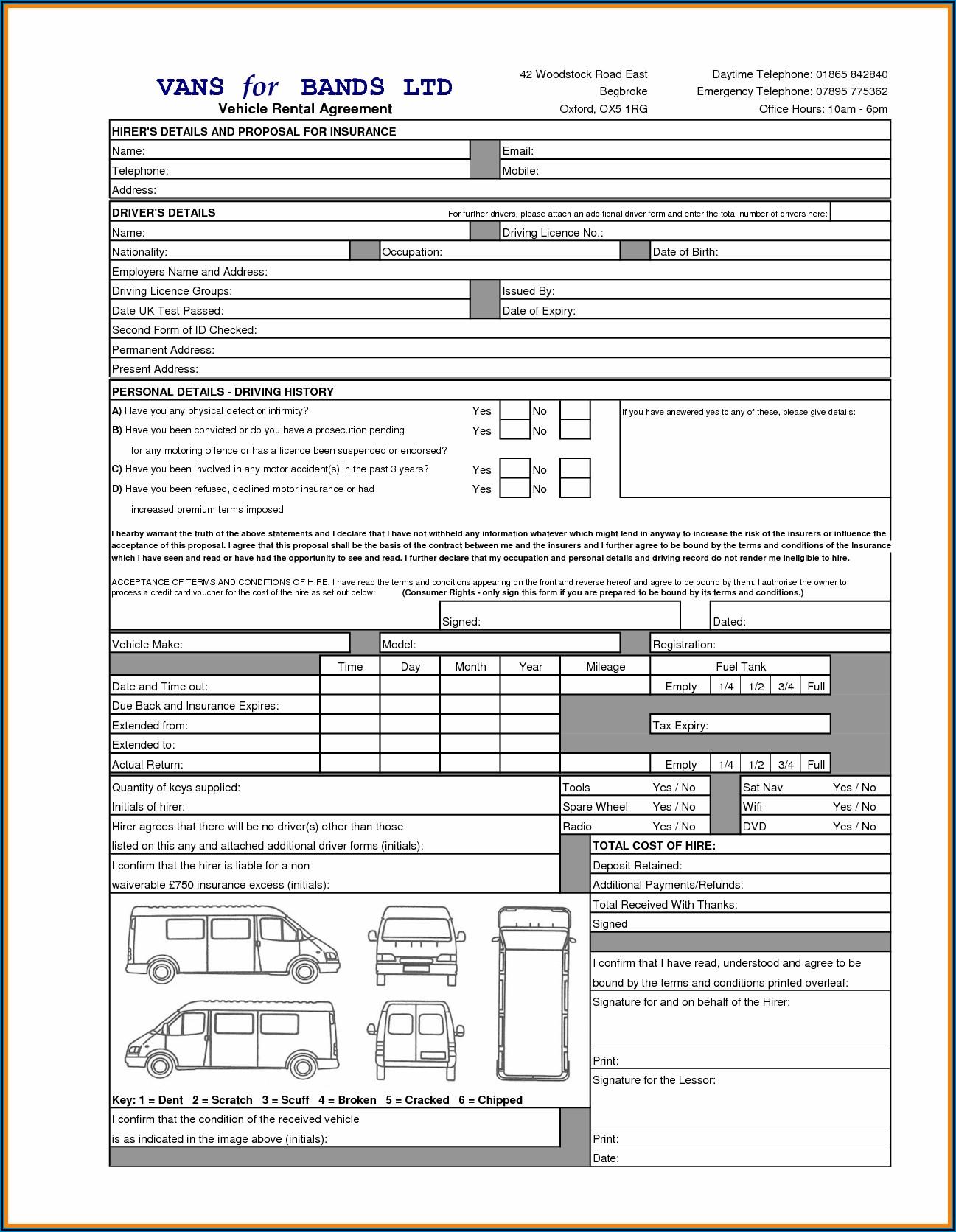 Car Rental Agreement Template Free