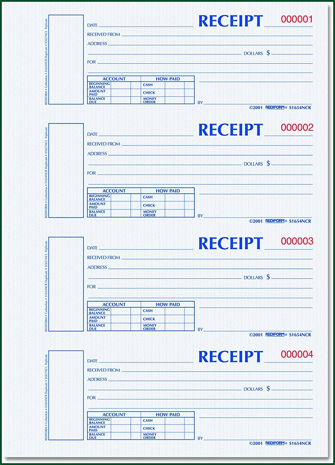 Carbonless Receipt Forms