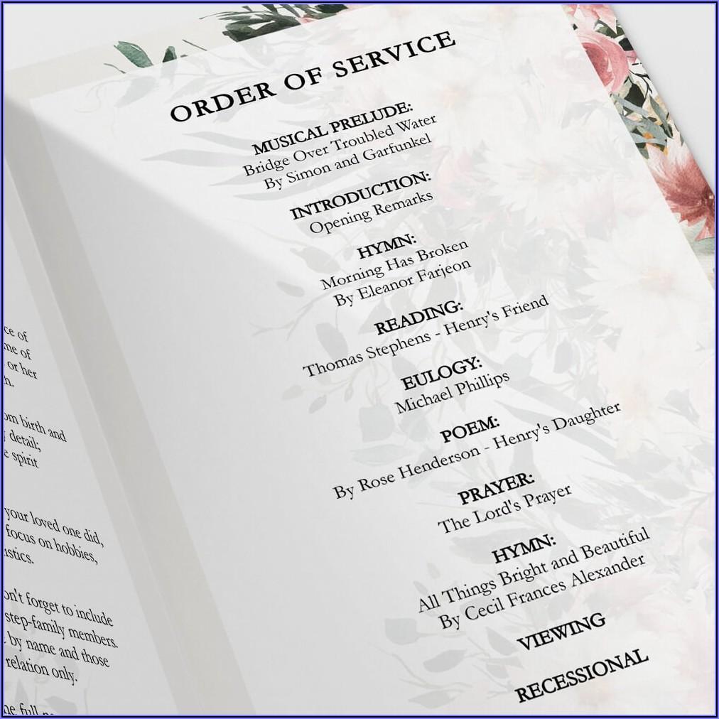 Catholic Funeral Program Sample