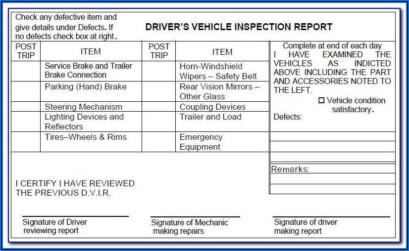 Cdl Pre Trip Inspection Test Form