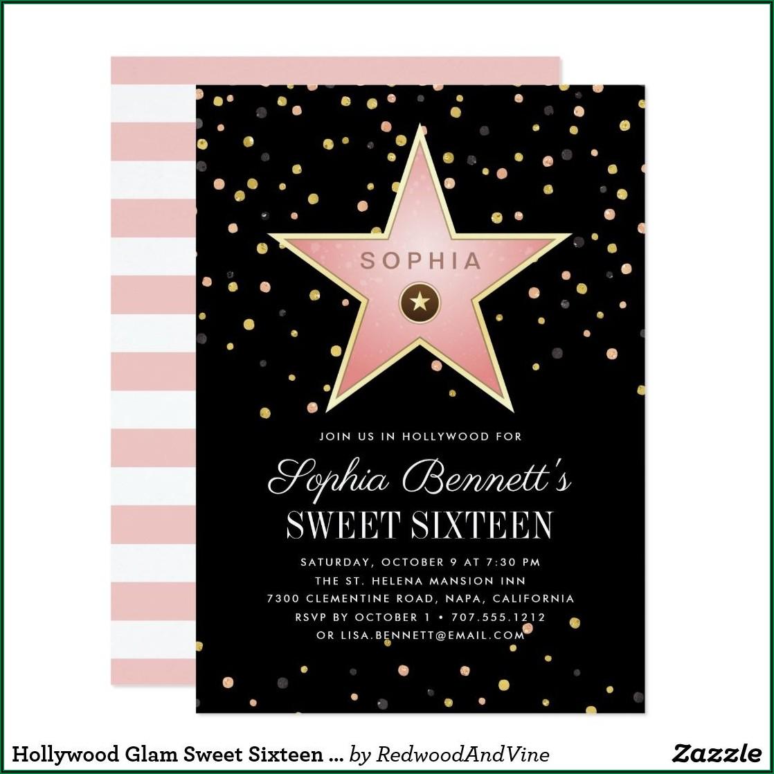 Cheap Hollywood Sweet 16 Invitations