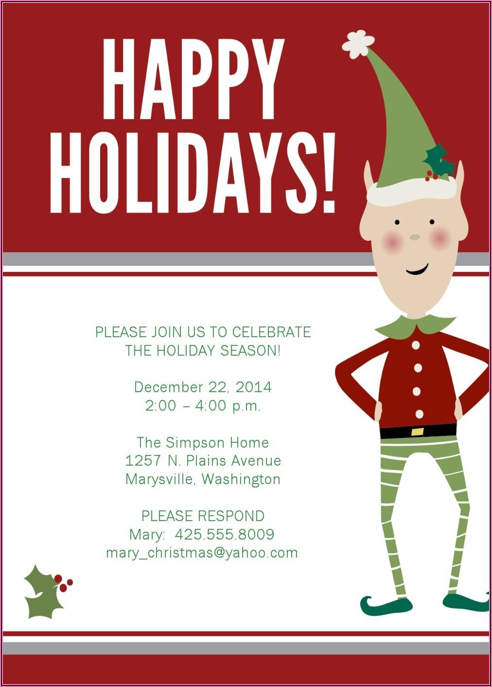 Christmas Dinner Invitation Templates Free Printable