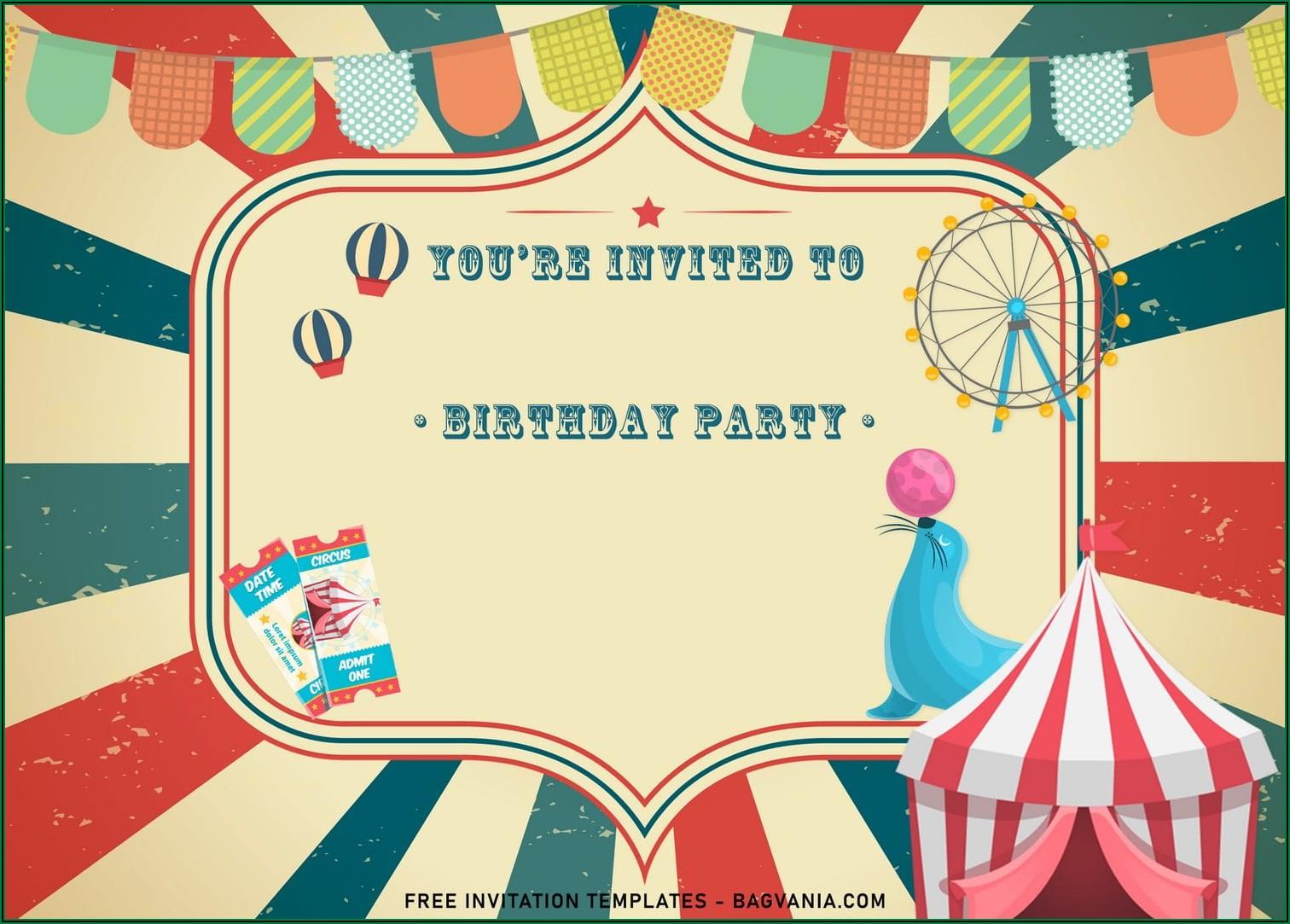 Circus Birthday Invitation Templates Free