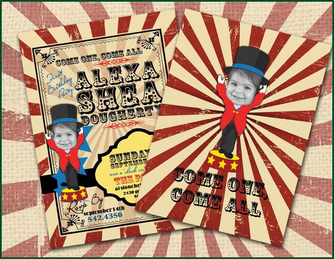 Circus Themed 1st Birthday Invitations