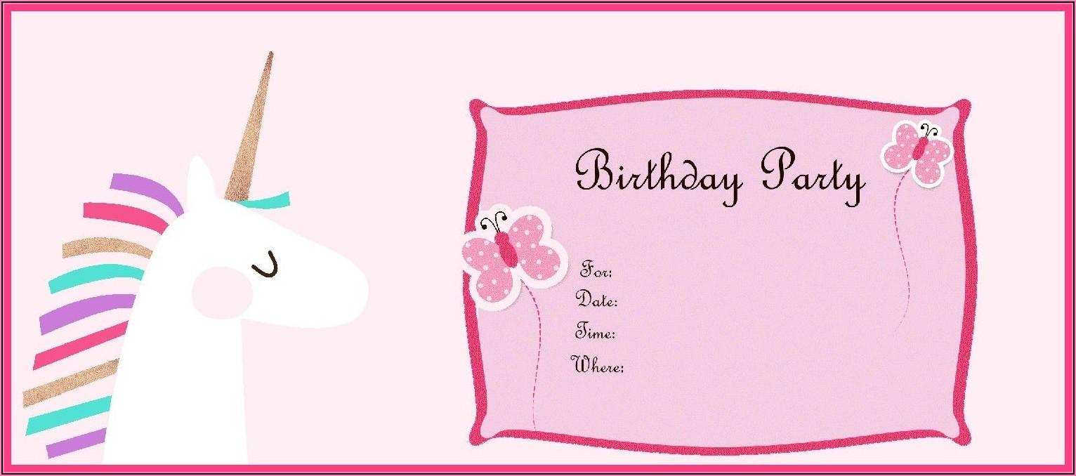 Create Unicorn Birthday Invitation Card Online Free