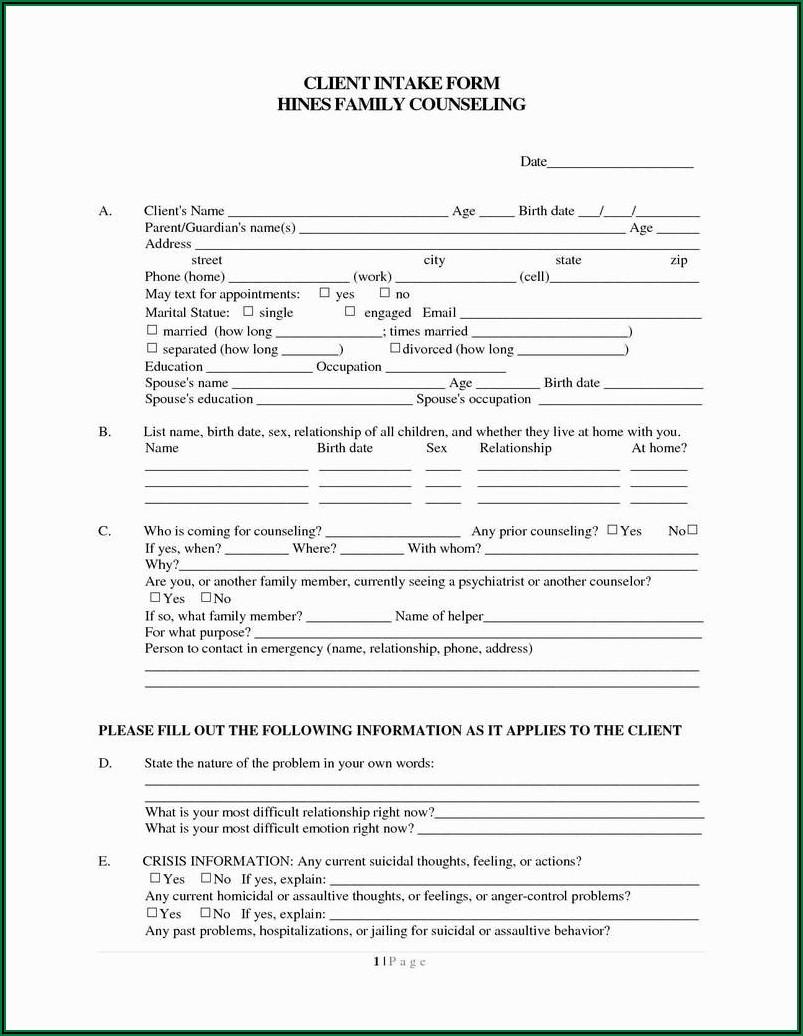 Criminal Client Intake Form