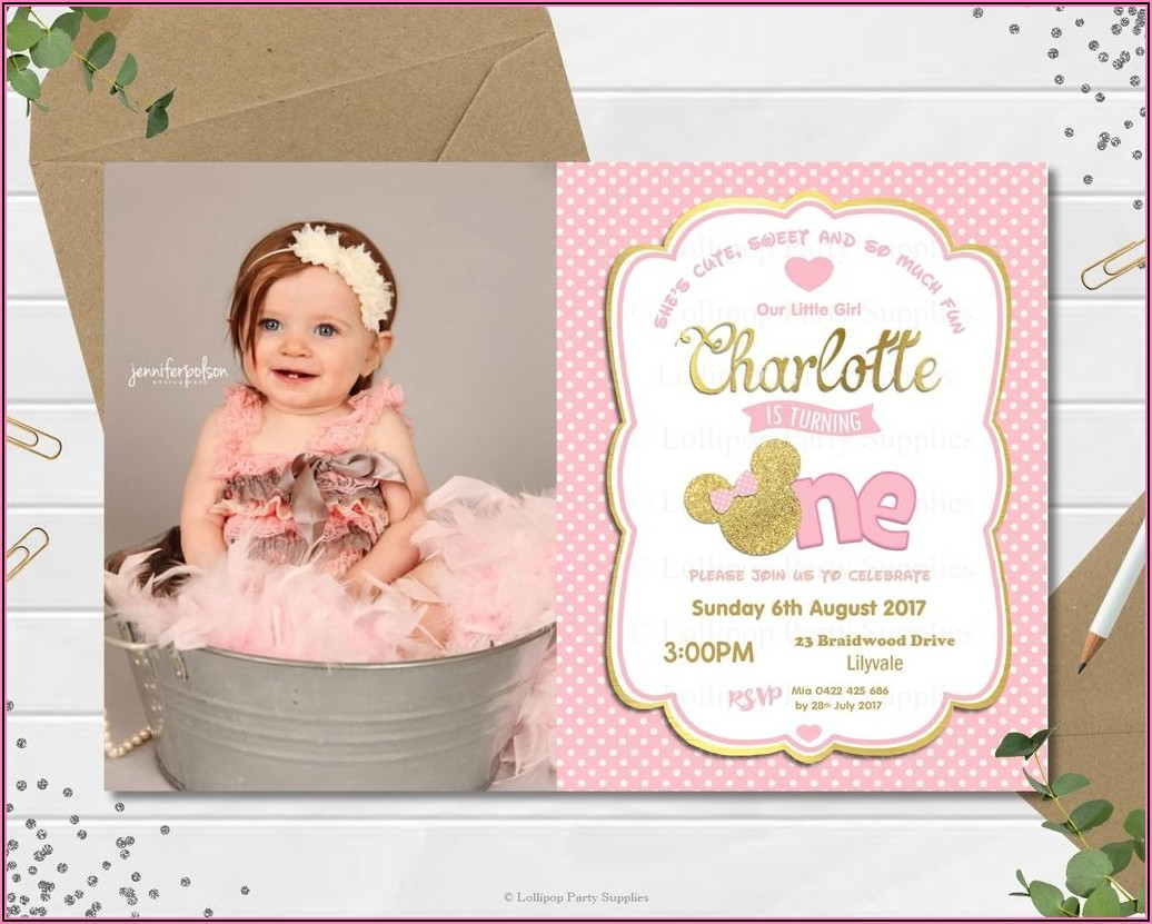 Custom Minnie Mouse 1st Birthday Invitation