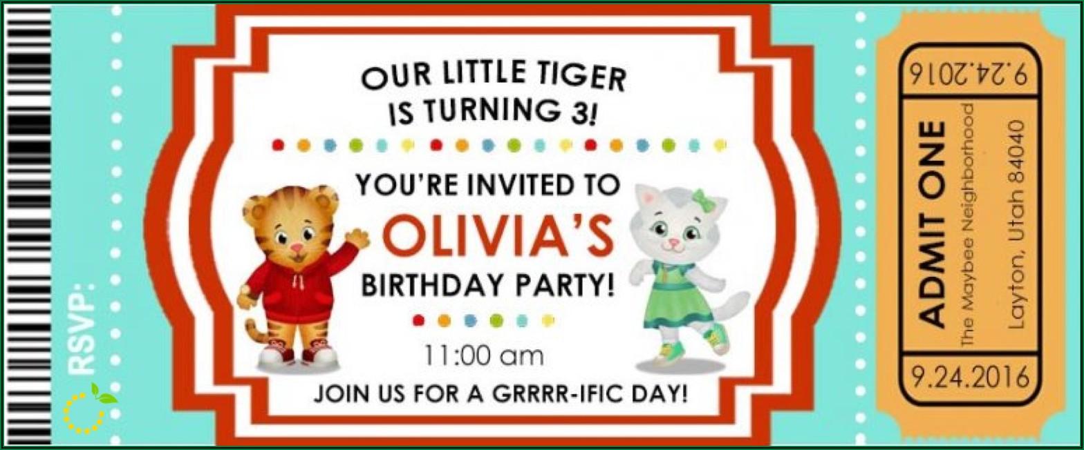 Daniel Tiger Birthday Invitations Free Printable