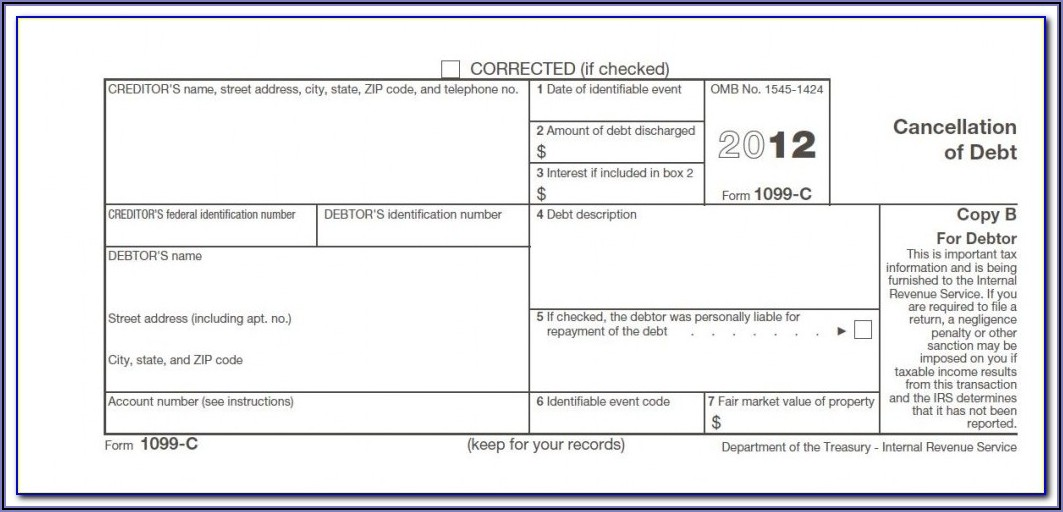 Debt Forgiveness Tax Form