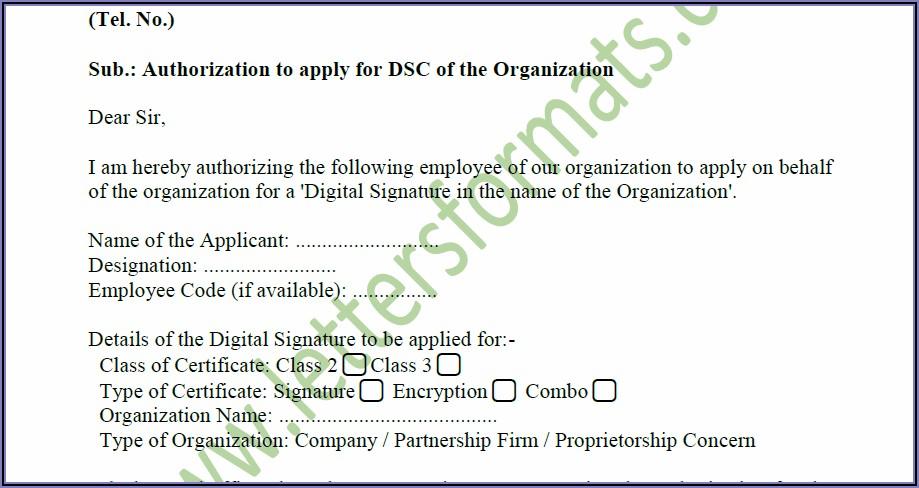 Digital Signature Authorization Form
