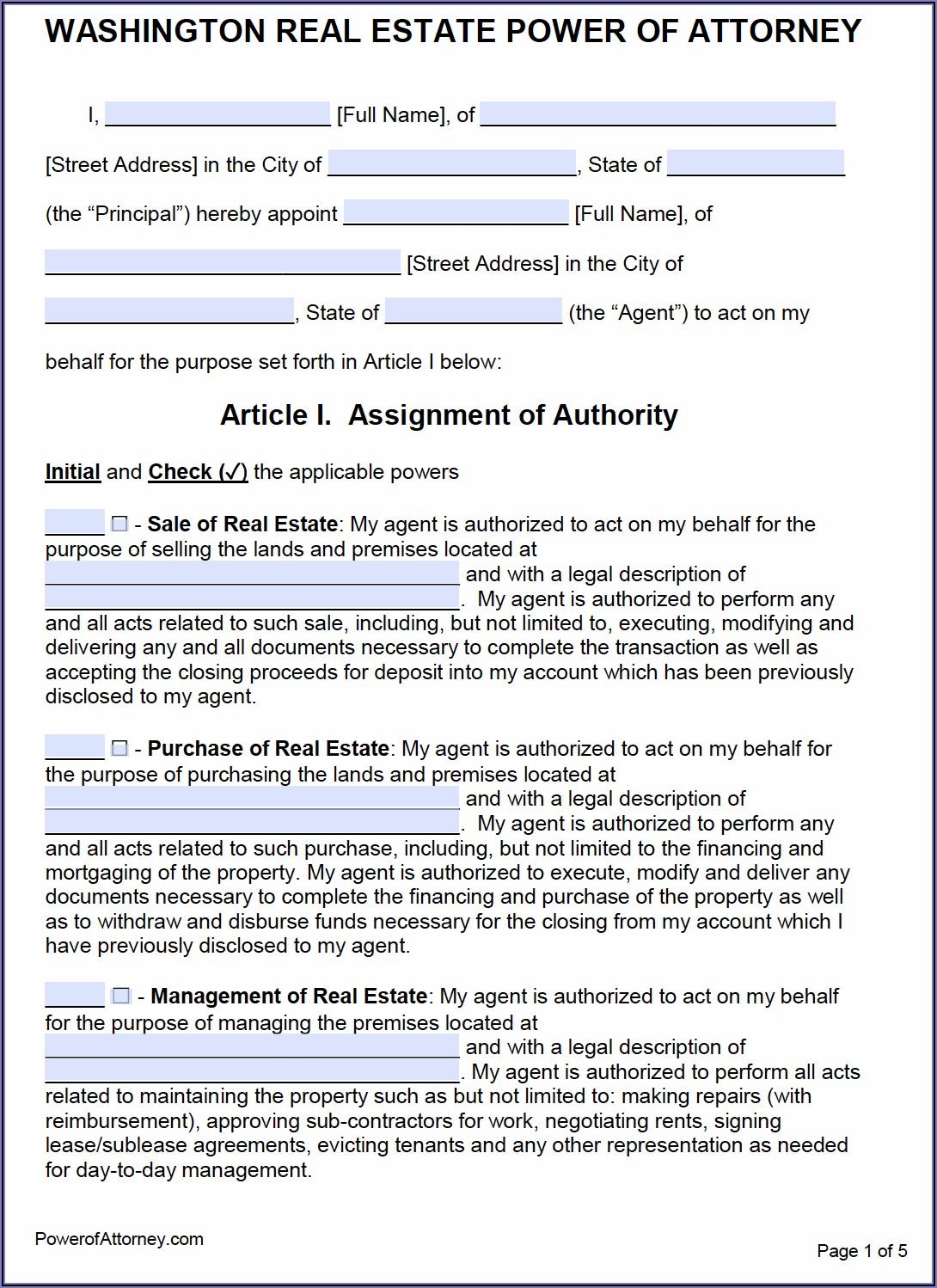 Durable Power Of Attorney For Health Care Form Washington State
