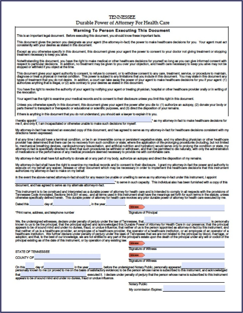 Durable Power Of Attorney Health Care Form Tennessee