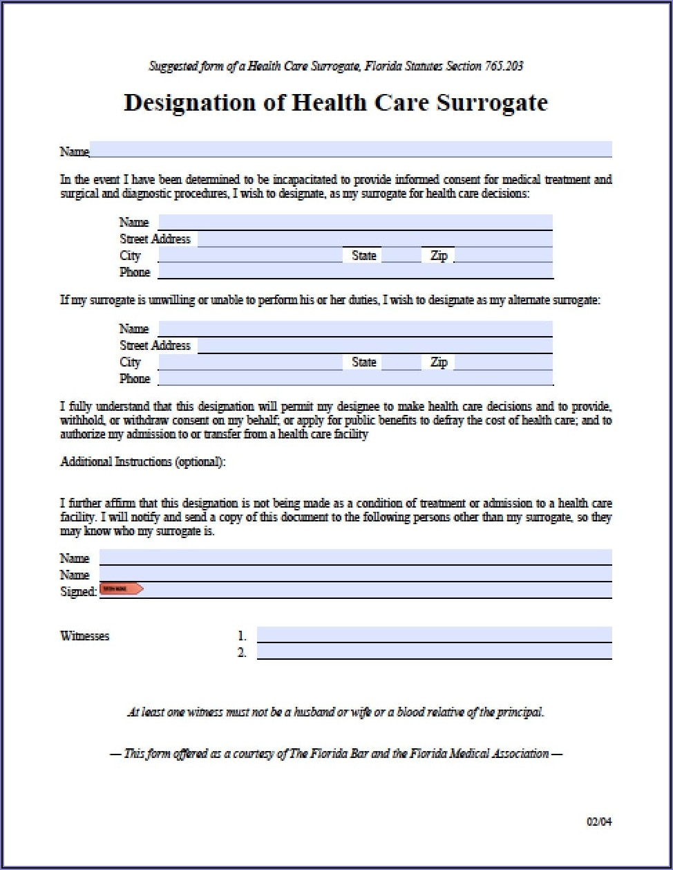 Durable Power Of Attorney Health Care Form