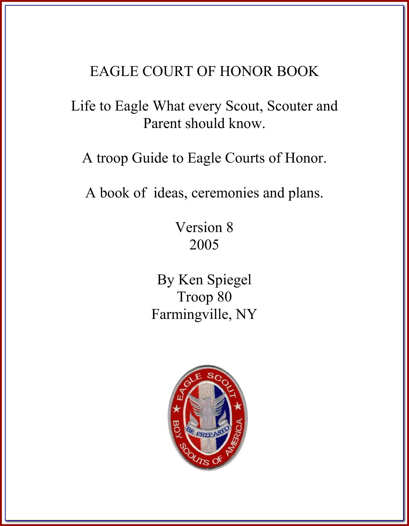 Eagle Court Of Honor Invitation Template Free