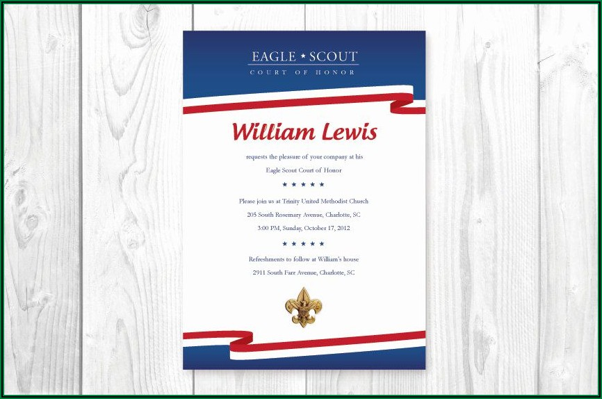 Eagle Court Of Honor Invitations Template