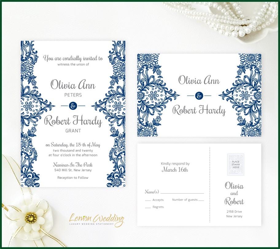 Elegant Royal Blue And Silver Wedding Invitations