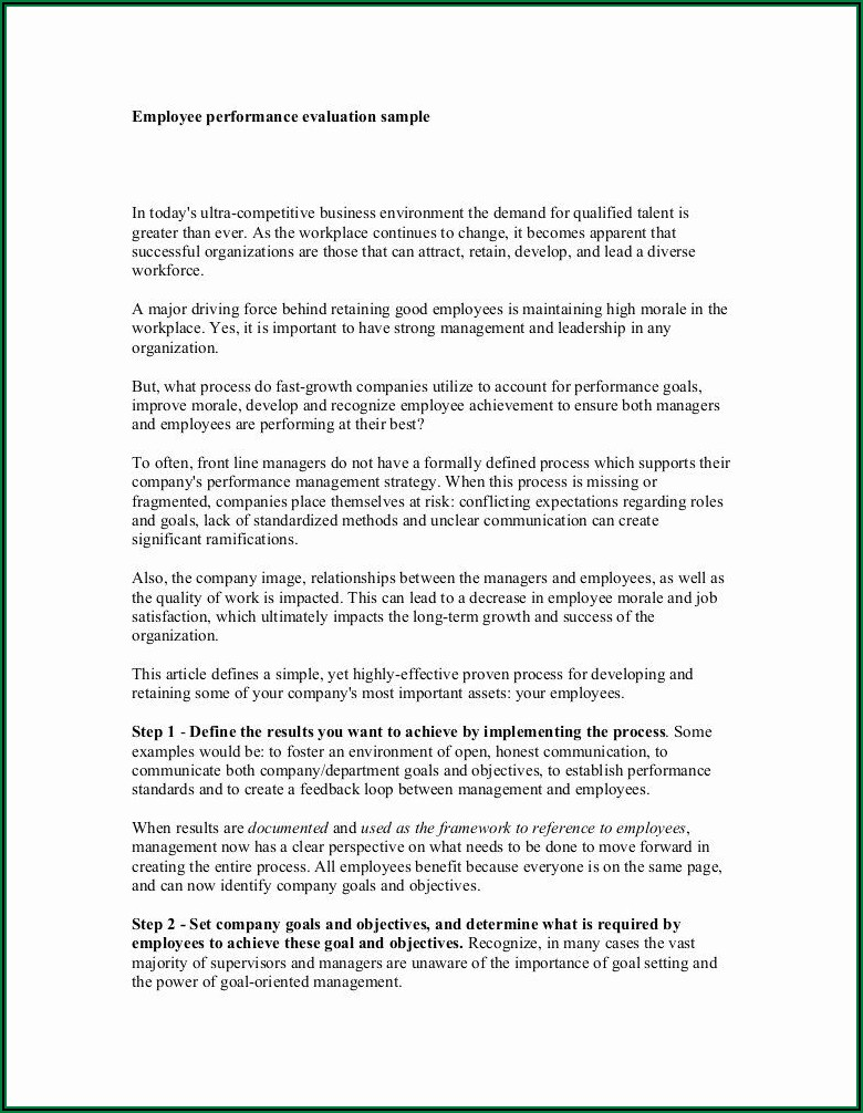 Employee Performance Review Template Pdf Free