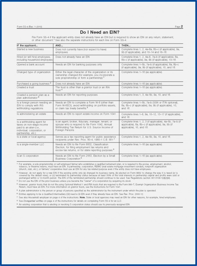 Employer Identification Number Irs Form Ss 4