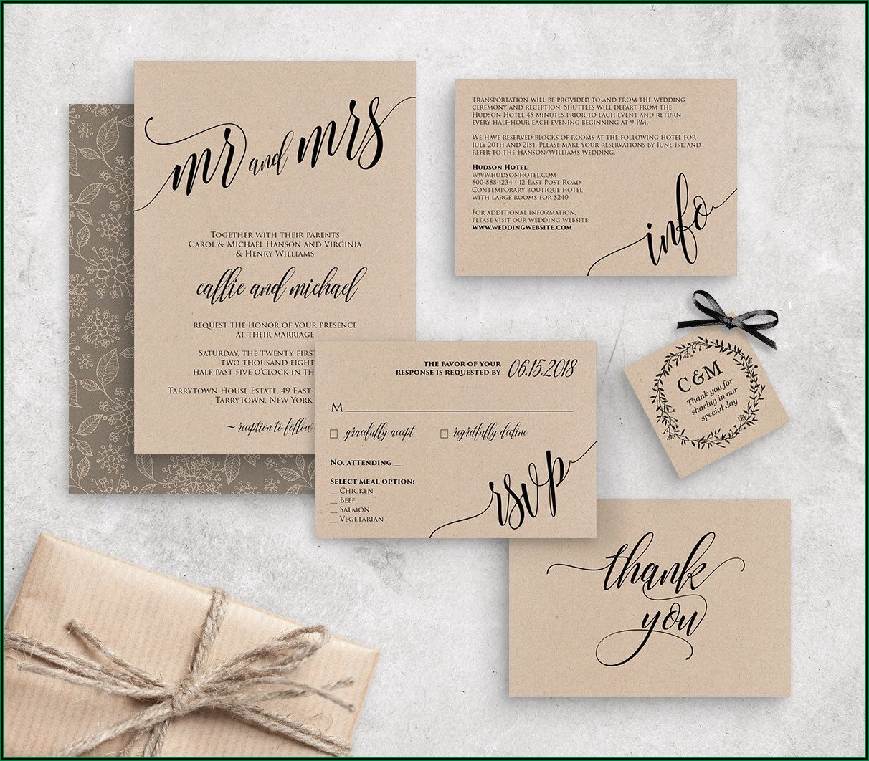 Etsy Rustic Wedding Invitation Template