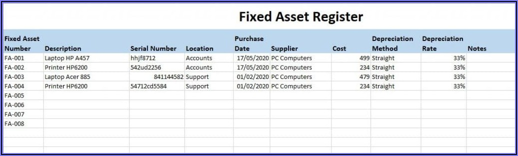 Fixed Asset Listing Template Excel