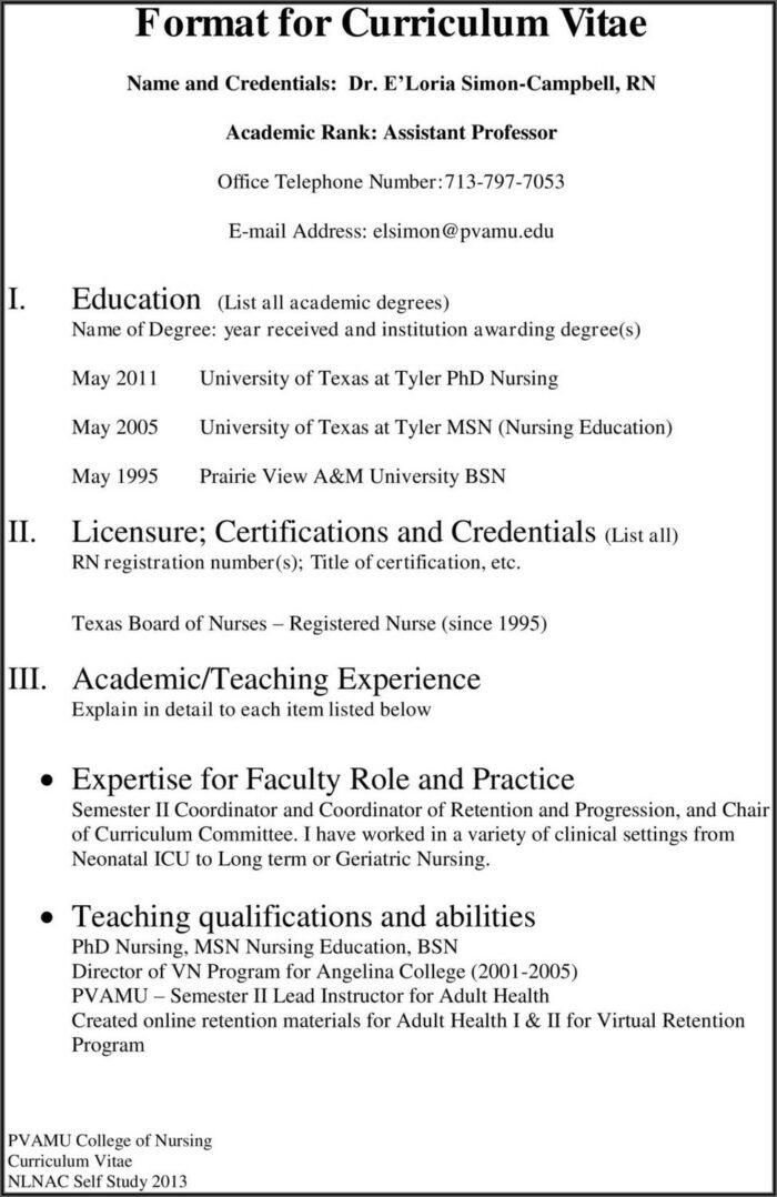 Format For Curriculum Vitae Pdf