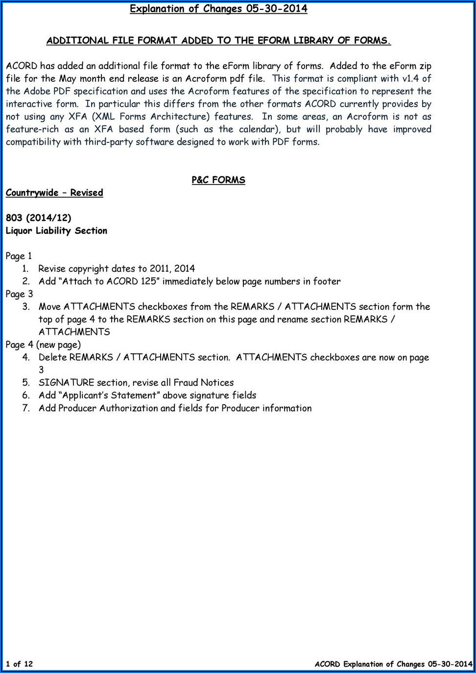 Free Acord Forms Download