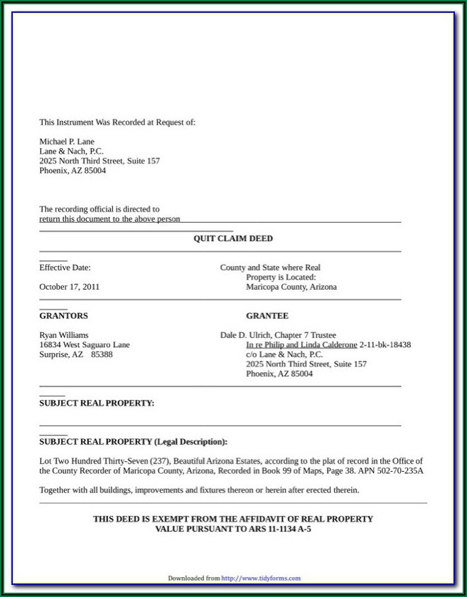 Free Arizona Quit Claim Deed Form