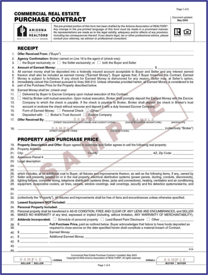 Free Commercial Real Estate Sales Contract Template