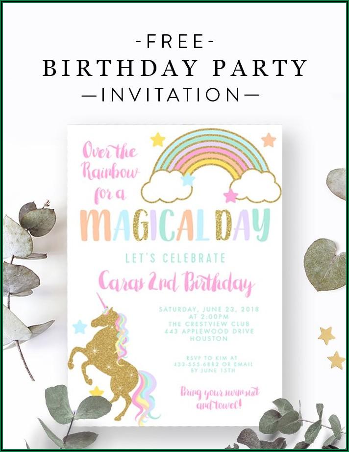 Free Editable Unicorn Invitation Template