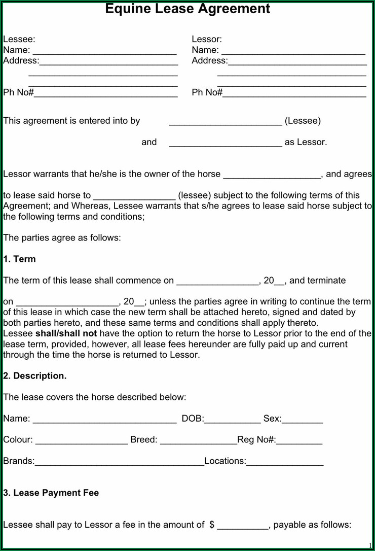 Free Equine Legal Forms