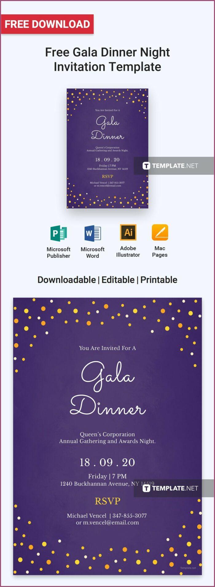 Free Gala Dinner Invitation Template