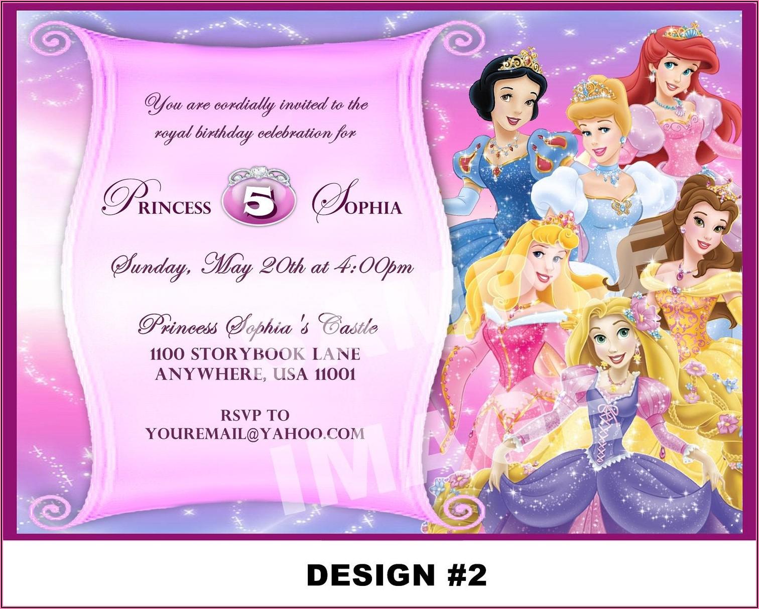 Free Personalized Disney Princess Birthday Invitations